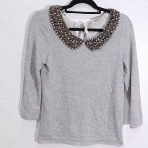 Anthropolige Postmark Gray Beaded Collar Top M